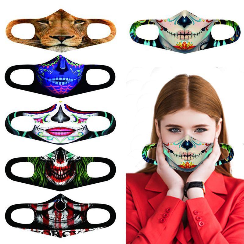 Klassische Cosplay 3D Printed Gesichtsmaske Erwachsene Waschbar 3D Mundmasken Stoff wiederverwendbare wasserdicht staubdicht Anti-Smog Halloween-Maske