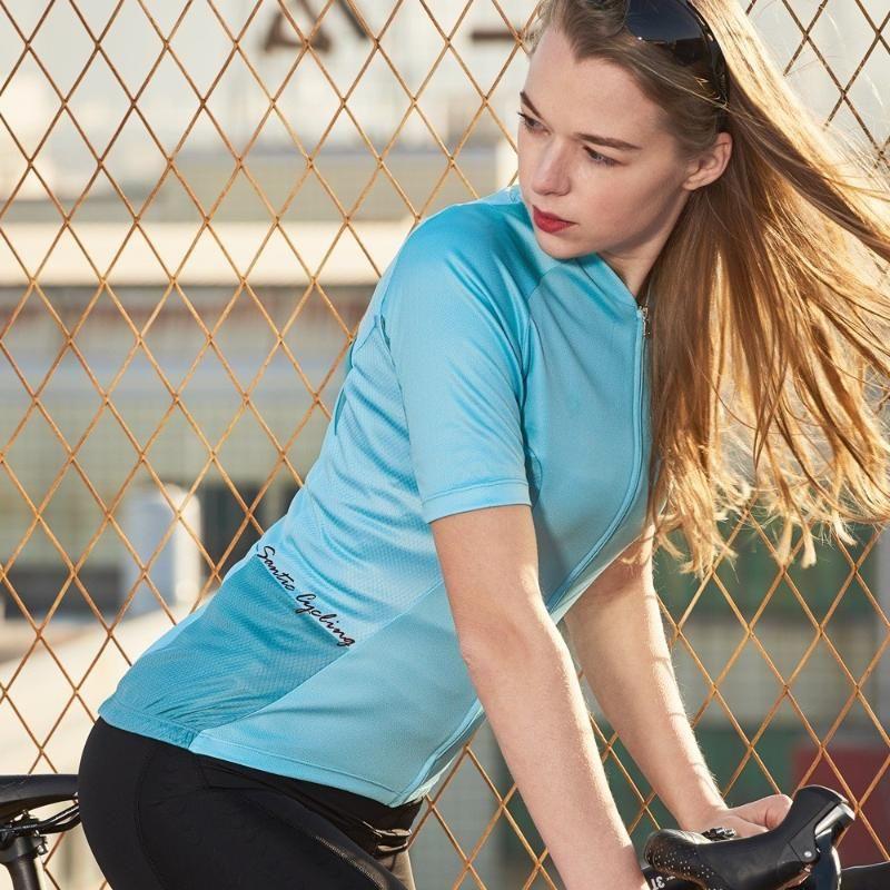 Santic Mulheres Jersey Ciclismo Pro Fit Ladies Estrada MTB Jersey bicicleta da bicicleta de manga curta Verão bicicleta