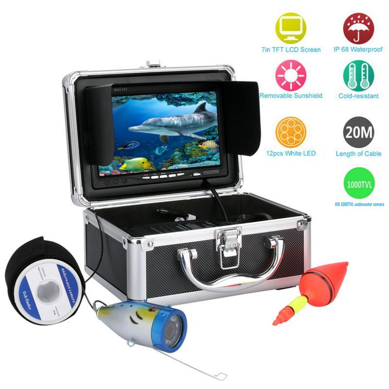 20M/30M/50M 1000TVL Underwater Fishing Video Camera Kit 12 PCS White LED with 7 inch Color Monitor Fish Finder For ICE/River/Sea