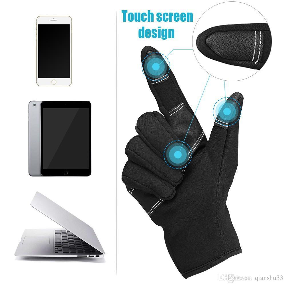 Wholesale- Winter-Lederhandschuhe Fäustlinge Fahren TouchScreen Handschuhe Invierno Guantes De Cuero Dotykowego Rekawiczki