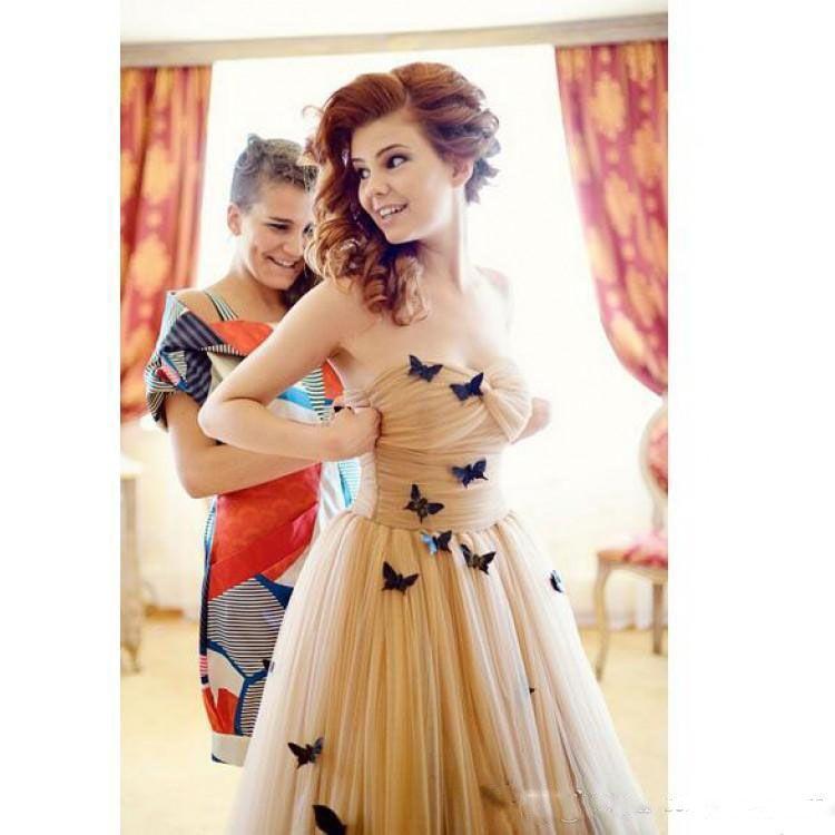 3D 나비 새해 댄스 파티 드레스 샴페인 프릴 끈 이브닝 가운 소프트 얇은 명주 그물 여성 정장 파티 드레스 바닥 길이