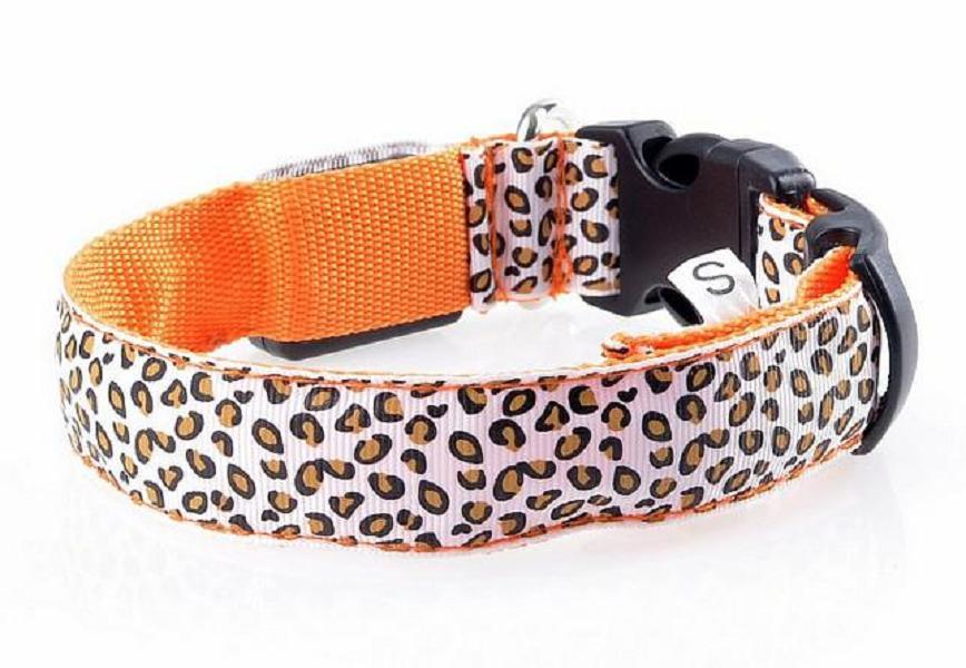 Sexy Leopard Print LED Dog Collars LED Pet Flashing Collars Nylon 3 Size 6 Colors free shipping