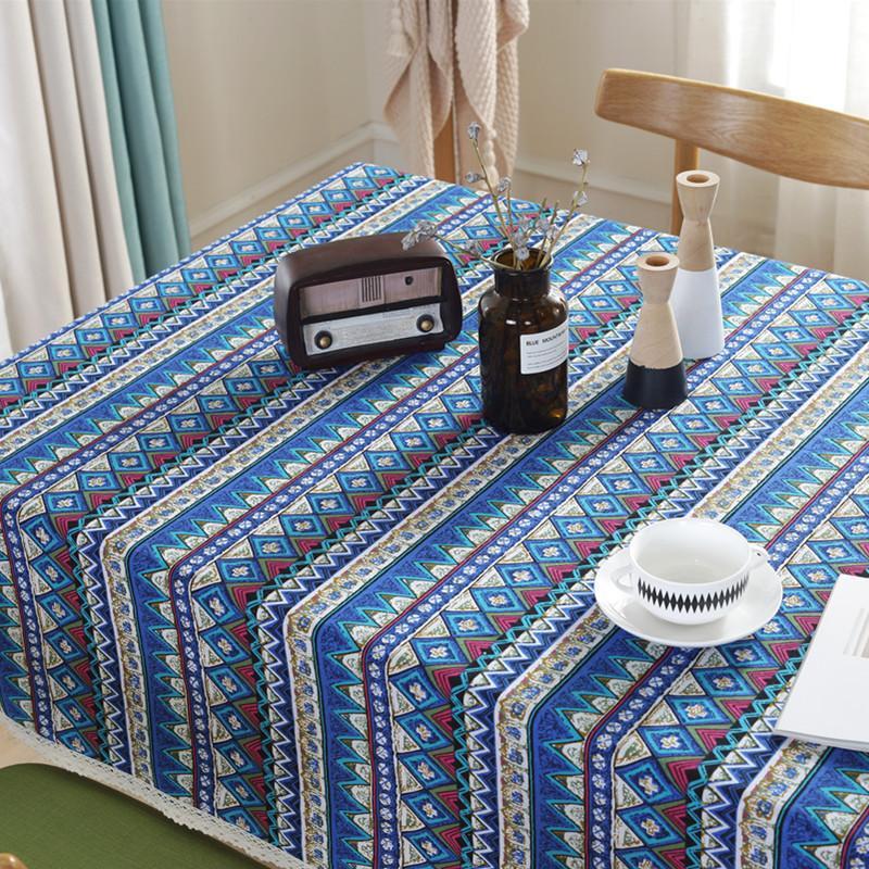 Rosso, Verde e Blu Boemia Cotone Stile Nazionale e della copertura del panno di lino a righe Tovaglia hotel Tovaglia Dust