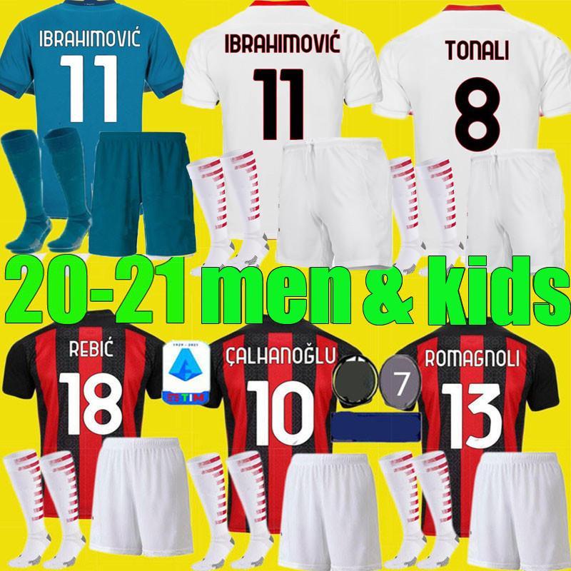 الأولاد الكبار AC ميلان 2020 2021 IBRAHIMOVIC بالقميص لكرة القدم تعيين 19 20 21 بياتك باكيتا THEO REBIC قمصان كرة القدم الرجال الاطفال مجموعات الزي الرسمي