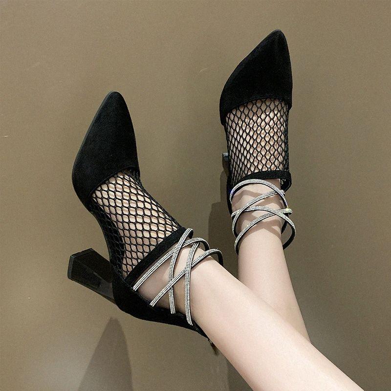 2020 Été Printemps Chaussures à talons hauts Sandales pour les femmes Beige Sandales Bloc Talons Lace Denim Femmes Femme Femme IuoJ #