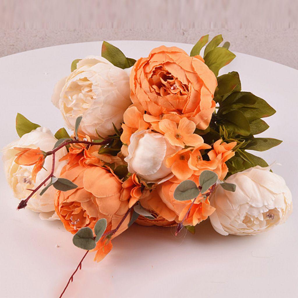 Vintage Pfingstrose Brautstrauß Seidenblume Hochzeit Dekor Braut Brautjungfer Blumenstrauß, 13 Farben