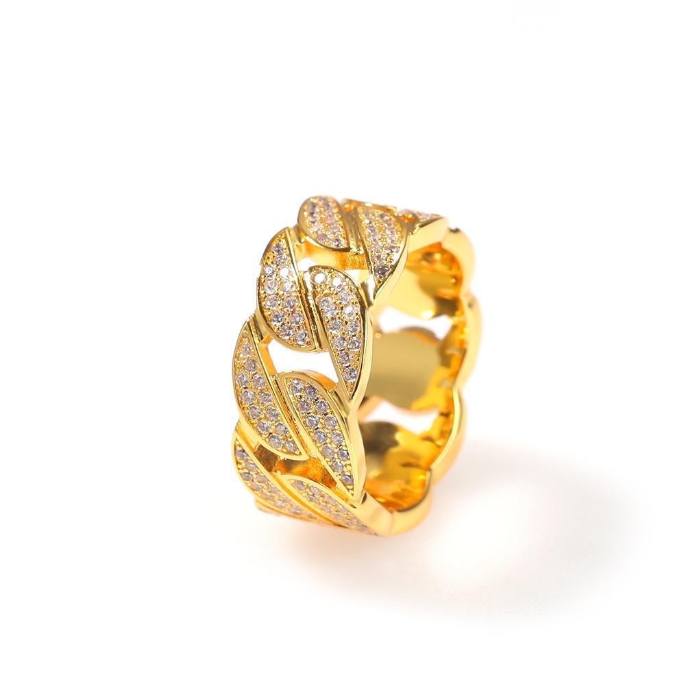 Conjunto completo de CZ Diamante cubana Anel Popular Homens e mulheres de jóias banhado a ouro Forme pares Anel
