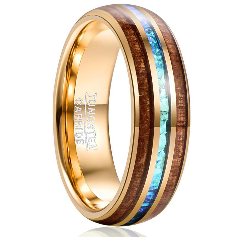 Обручальные кольца Продают участие для мужского подарка 6 мм шириной гальванического золота Inlaid Acacia + имитация Opel купол вольфрамовые стальные кольца украшения