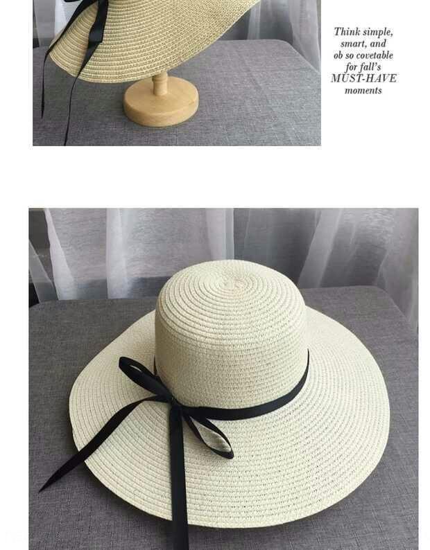 gran sombrero de paja del sol al aire libre de protección solar plegable coreana vacaciones en la playa sombrero de paja grande oferta especial 17gZl verano de las mujeres