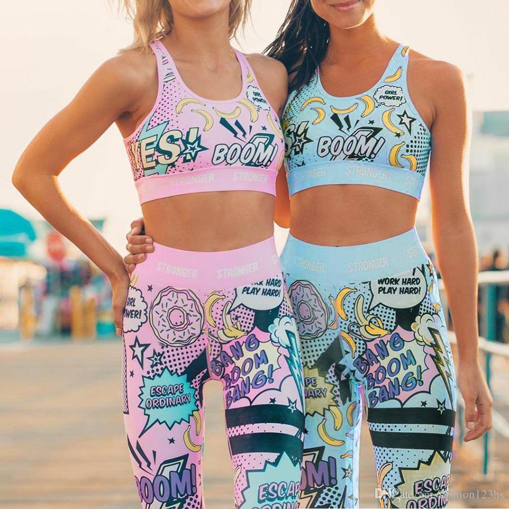 GYM fijaron a las mujeres chándal pintada de deporte Yoga Set chándal para las mujeres, entrenamiento Set de ropa ropa de gimnasia polainas 2 piezas