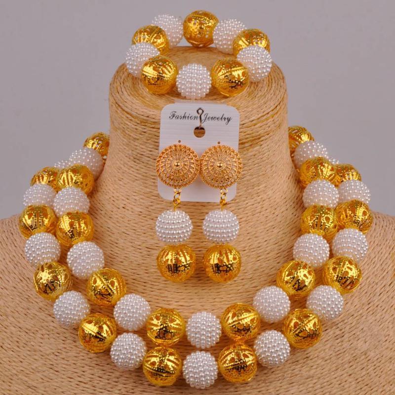 mode jeu blanc bijoux perle africaine simulé nigerian perles de jeu de mariage traditionnel bijoux ensembles ZZ14