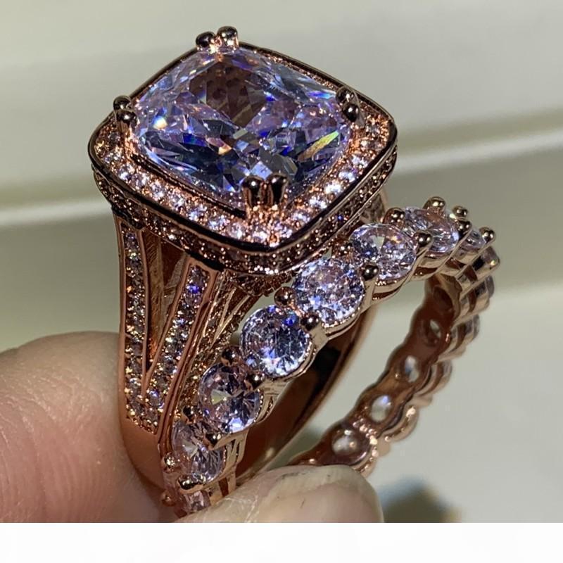 Chegada Nova Jóia impressionante de luxo 925 silverrose ouro Fill Almofada Forma Branco Topaz CZ Diamante Mulheres casamento nupcial Ring Set