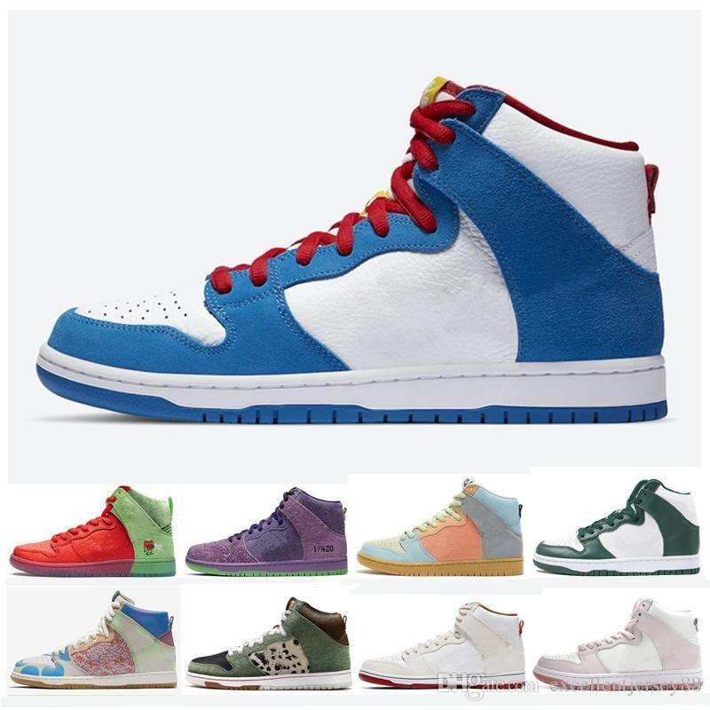 2020 Doraemon Dunk SB Haute Hommes Chaussures de course Qu'est-ce que Skunk Spectrum Strawberry Cough Dog Walker Équipe Crimson Vert Femmes Sport Chaussures