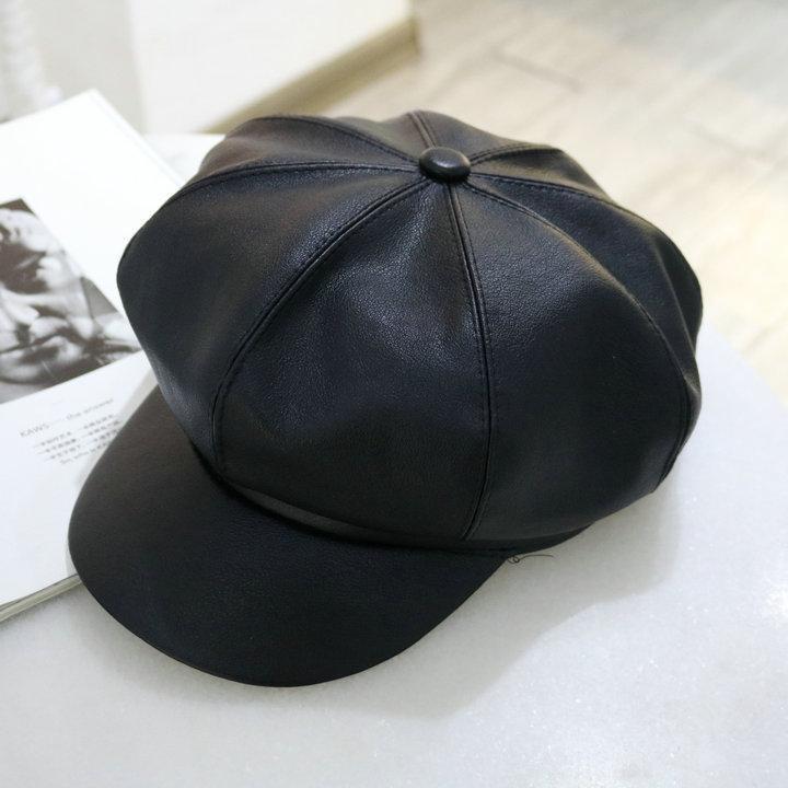 Boinas Para Mujer Cuero Pu octogonal sombrero Mujer otoño moda británica Todo-fósforo Chapeau Femme Kapelusz Chapéu Czapka Zimowa