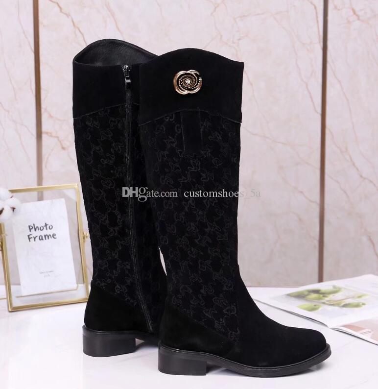 2020 latest high boots luxury designer logo high quality Martin boots leather shoes rider boots women winter shoes
