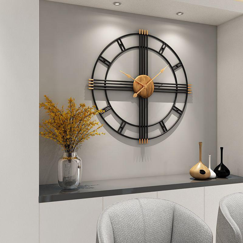 80cm Basit duvar saati Avrupa tarzı dövme demir salon saatler yaratıcı moda sessiz ev, modern dekoratif saat