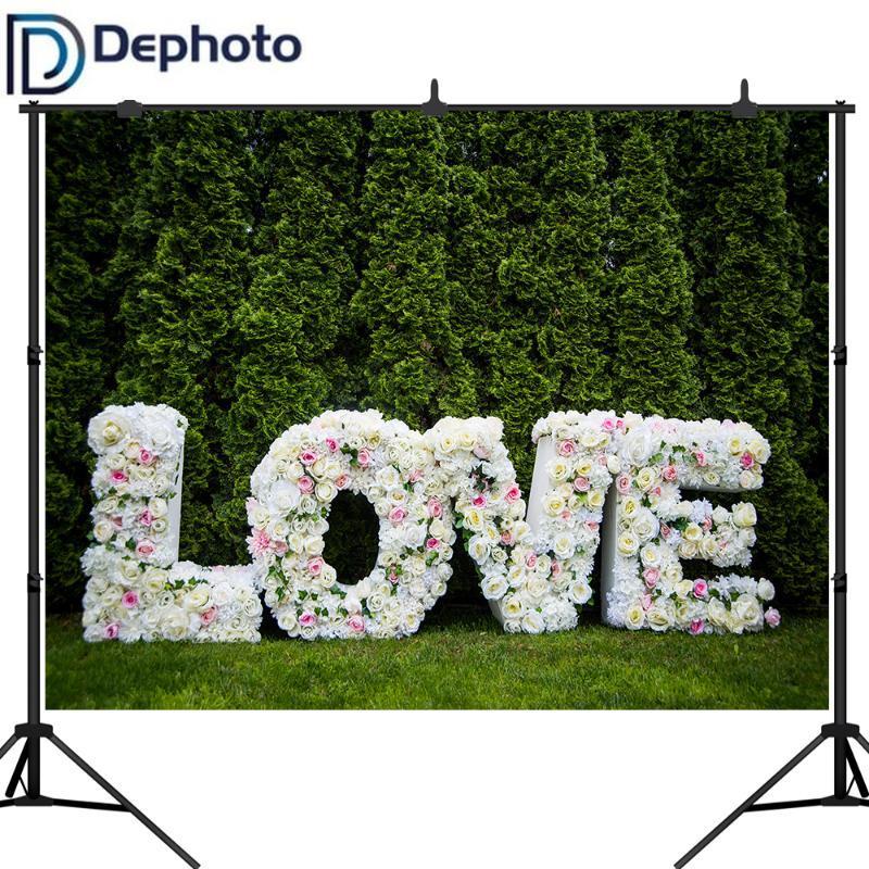 Dephoto Sfondi di nozze Rose Foglie verdi della festa di compleanno del bambino parete Amore fase Fotografarsi Fondali Photo Studio