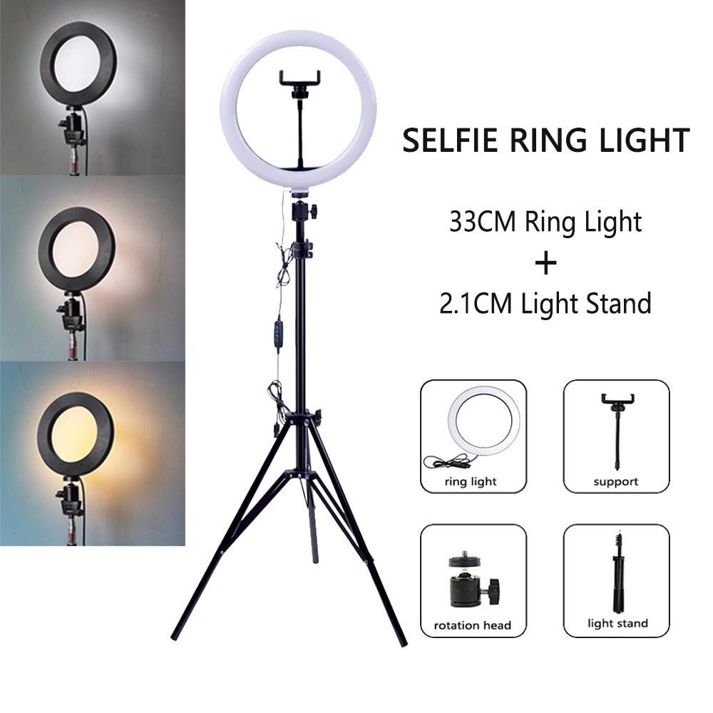 Dimmable LED Selfie Ring Light مع ترايبود USB Selfie الخفيفة الدائري مصباح التصوير الفوتوغرافي كبير ringlight مع حامل للهاتف الخليوي استوديو