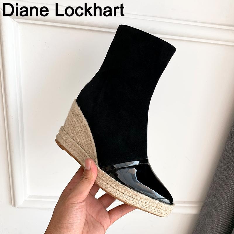 Kış Kadınlar Bilek Boots Platformu Kama Topuklar Patik Kadın Yüksek Topuklar Sonbahar Boot Ayakkabı 2020 Büyük Beden 41 37 Chaussure Femme