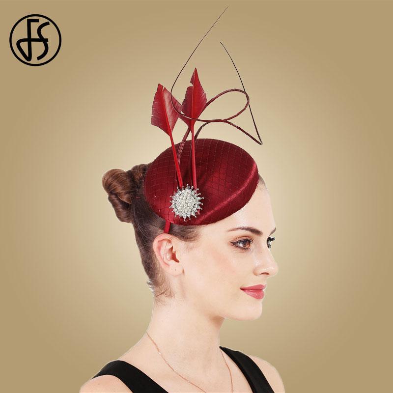FS Vintage-Satin Millinery Basis Hut für Hochzeit Kopfbedeckung der Frauen Partei-Feder-Damen Fascinator Gelegenheit Stirnband
