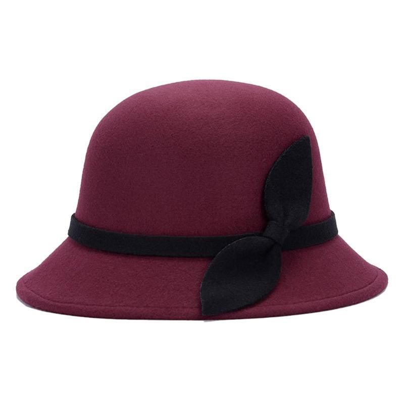 Recém bonito Lã Moda Feminina Mulheres Faux Felt Bucket Chapéus Cloche Cap Bowler com bowknot DO99