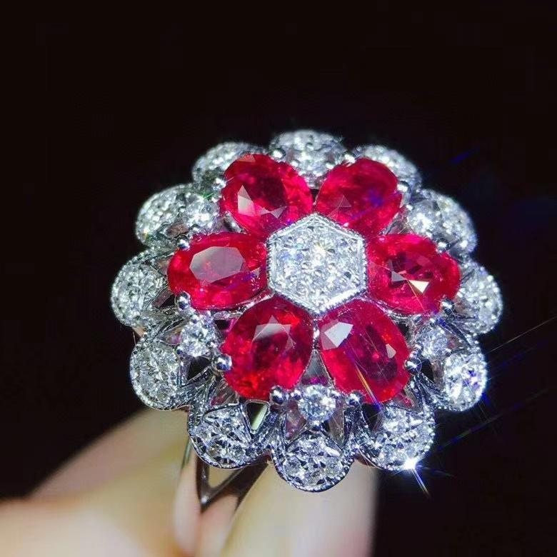 925 silver ring gorgeous women ruby ring certified natural gem certified natural real gem red green color christmas gift
