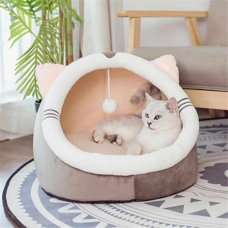 Dobrável Cat Pet Bed Dog macio ninho Kennel Kitten Bed Casa Sleeping Bag animais inverno quente Cozy House Cave para pequeno médio Pet