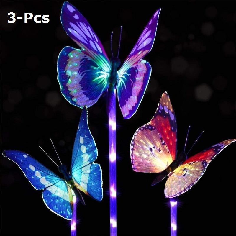 Cgjxs de jardin solaire papillon lumières d'extérieur solaire de Stake Light Multi -Color Changement Led Jardin Lumière Solaire