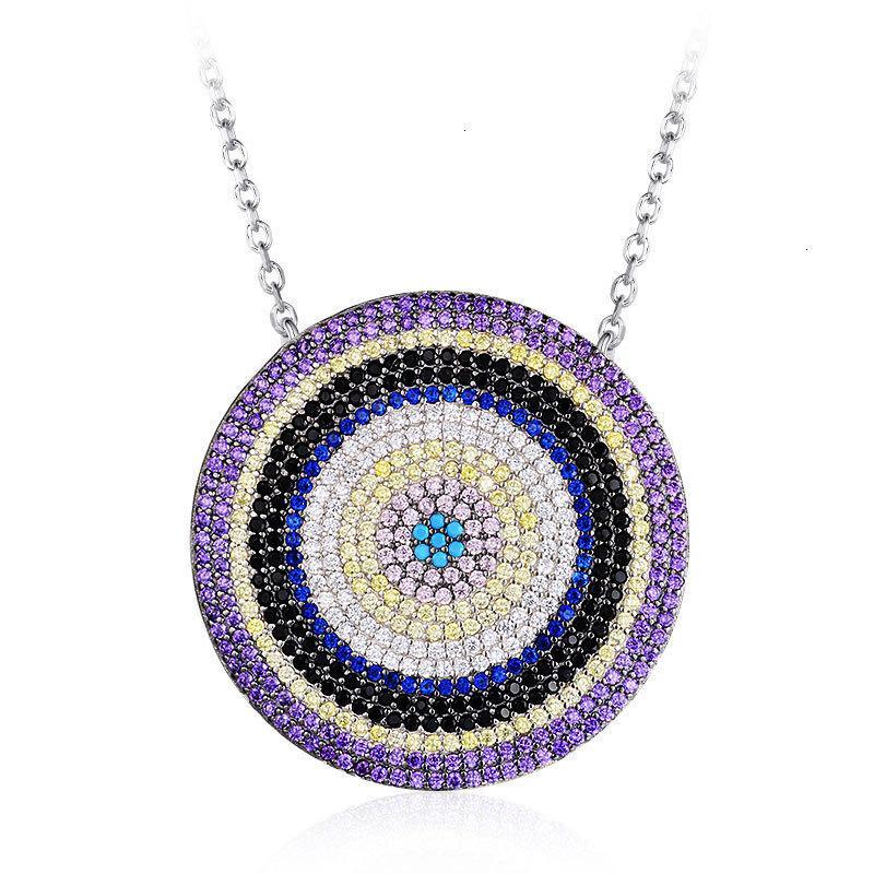 Gioielli Collana rotonda di stile etnico 925 Cerchio concentrico catena della clavicola del partito Donne Sterling Silver turco Blu Turchese