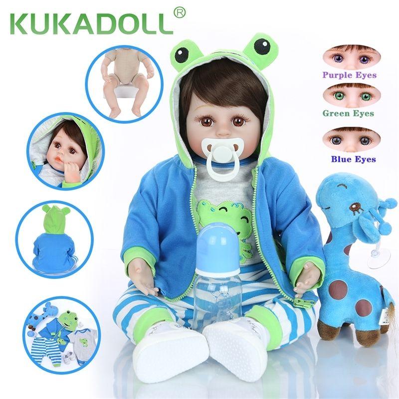 KUKADOLL 18 polegadas Lifelike Renascer Boy boneca de silicone suave pano corpo 46 CM Realistic Toy Baby Gift Kids Birthday Para Playmate