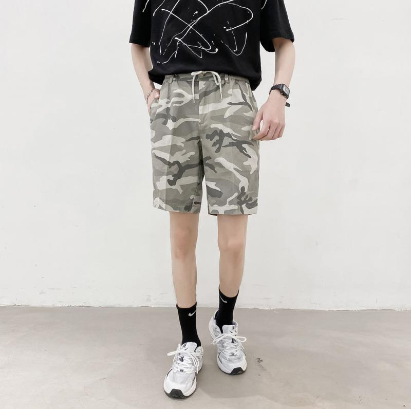 2020 Summer New Youth Popular Men's Camouflage Printed Loose Lace Five-point Pants Fashion Casual Straight Shorts S-2XL
