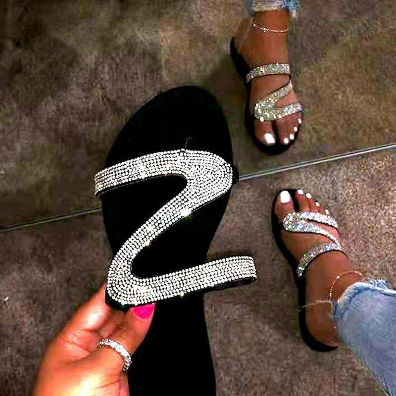 Shujin nuove brillanti sandali estivi piattaforma diamanti per Flip flop da donna strass all'aperto fibbia pistoni pigri