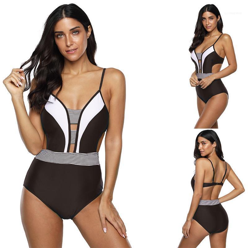 Mode Frauen Bademode Gestreifte Druck Designer Frauen-Badeanzug reizvoller dünne einteilige Kurzschlüsse beiläufiger Sommer-Bikini