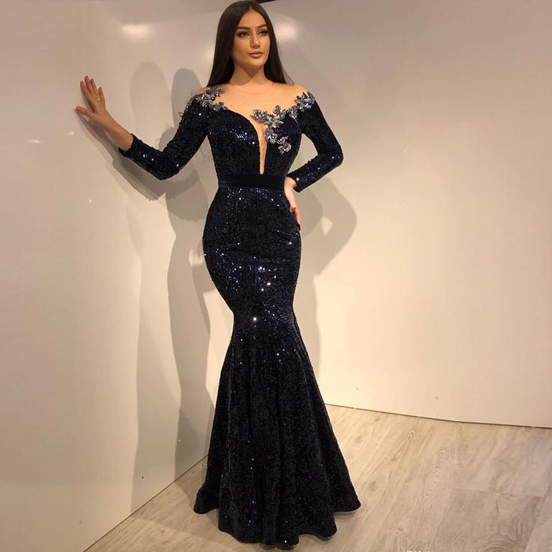 Black Sequins Dubai Mermaid Evening Dress 2020 Elegant Long Sleeve Sheer Neck Formal Party Gown robe de soiree Prom Dresses