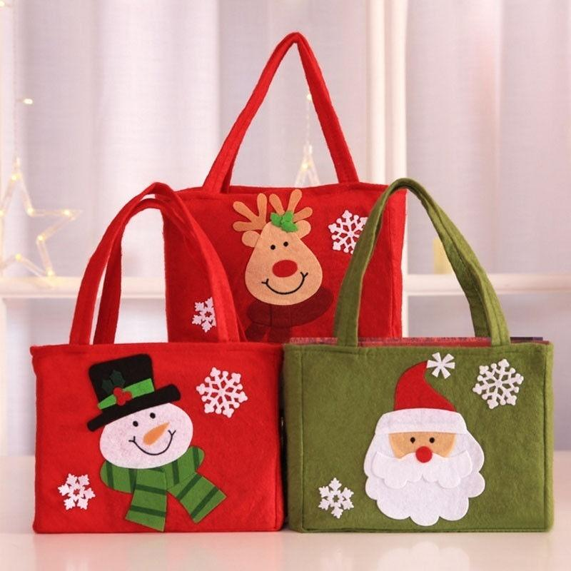 Le père noël mignon bonhomme de neige Bonbons Sacs cadeaux Sacs d'emballage Cookie Party Sac à main Joyeux Noël de stockage Paquet