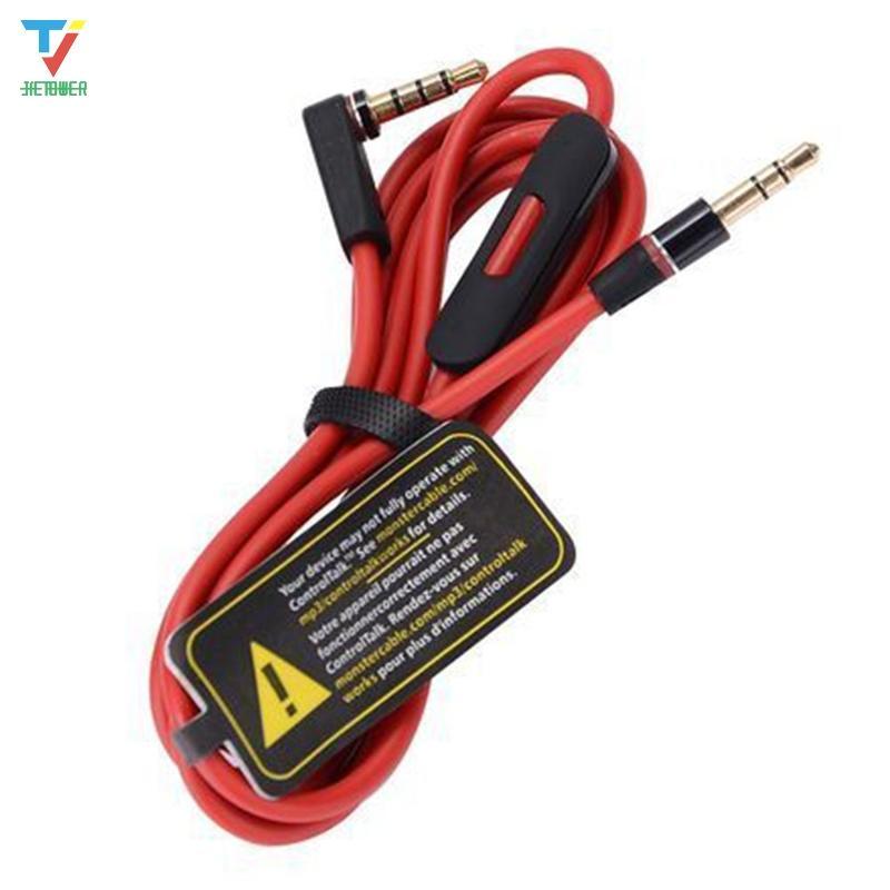 MIXR için Male Kontrol Talk ve MIC Uzatma Ses AUX Erkek Stüdyo Heaphones için 100pcs / lot 3.5mm Değiştirme Kırmızı Kabloları