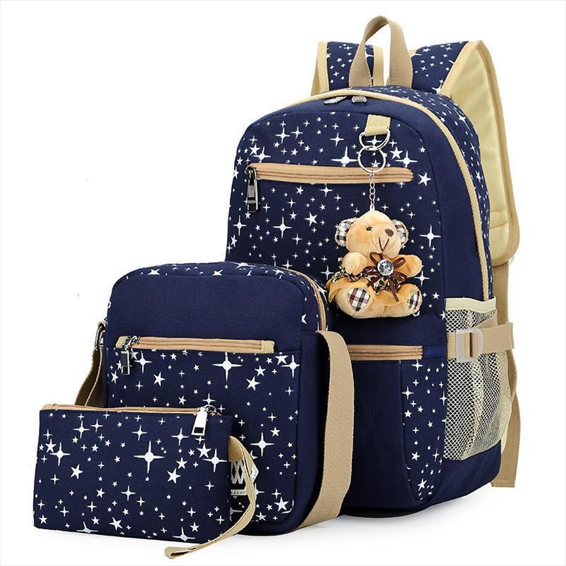 3pcs set Women Backpack School Bags Star Printing Cute Backpacks With Bear For Teenagers Girls Travel Bag Rucksacks Mochila