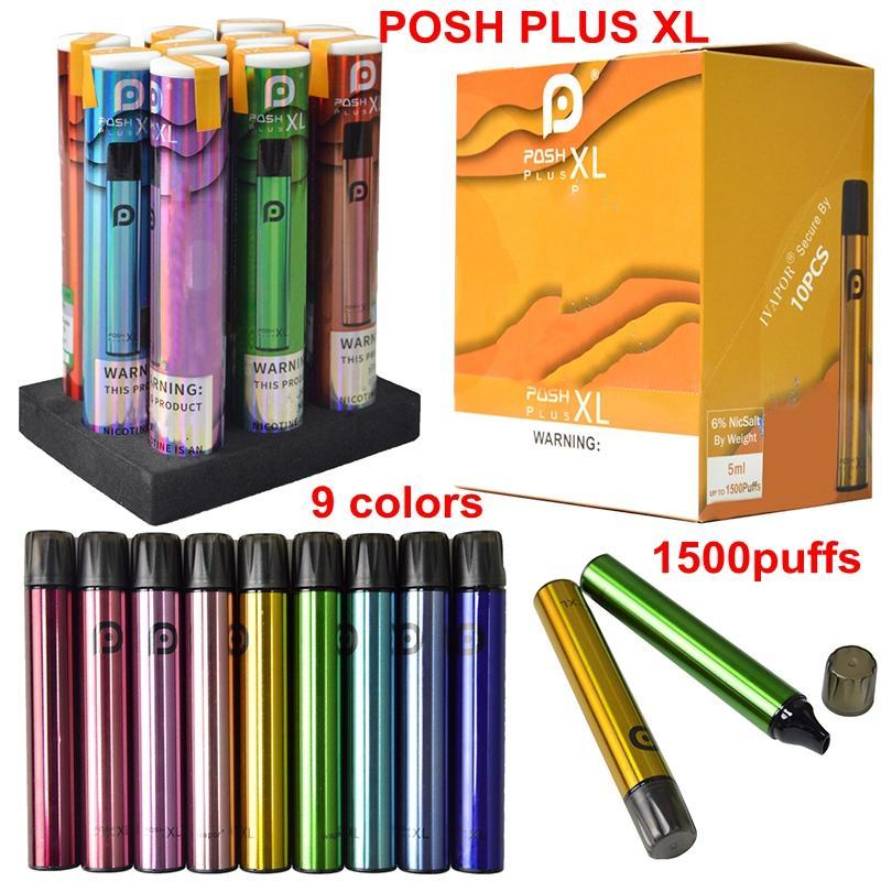Os mais recentes POSH PLUS XL descartável Vape Pen Starter Kit 5ml Esvaziar Pod Atomizador 1500 Puffs E Cigarettes Vape Kits Pens Hot populares