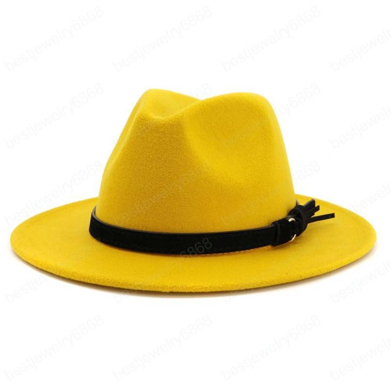 Kadınlar Vintage Özel Deri Kemer Büyük Boy Kış Trilby Cap Yün Fedora Sıcak Caz Hat ile Şapka Fedora Şapka Keçe