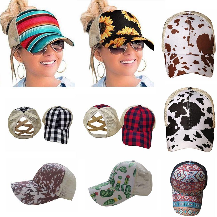 Yeni Ayçiçeği at kuyruğu Beyzbol Şapkası 16 Stiller Criss Çapraz Pamuk Topu Cap Ekose Cactus Yüksek Dağınık Buns Şapka DDA551 Yıkanmış