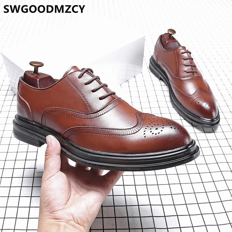 sapatos de couro homens clássico vestido marrom sapatos Coiffeur homens marca brogue vestido de noiva italiana elevador 2020 para AYAKKABI