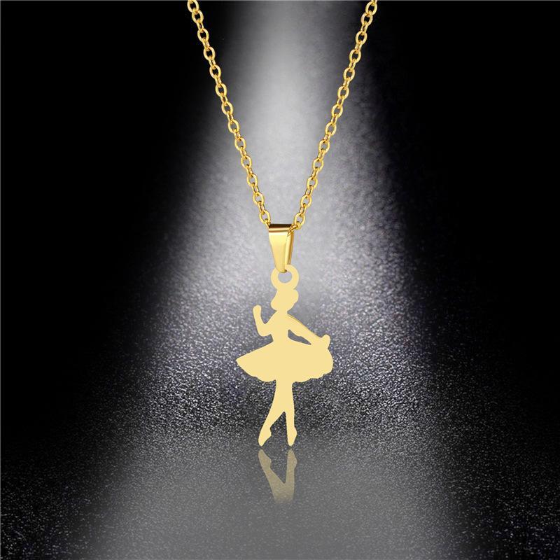 Collane pendenti Versione coreana della Creativa Cute Dancing Girl Girl Collana Femmina Balletto Danzatore Acciaio in acciaio in acciaio in acciaio in oro catena clavicola