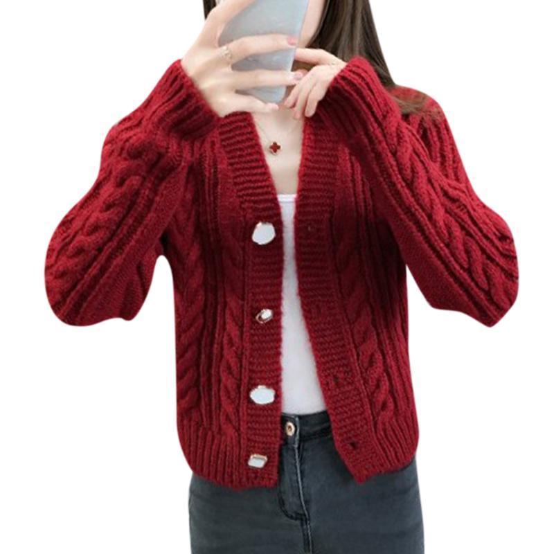 VICABO Осень корейской моды женщины свитер пальто Полный рукав Outwear Вязаные Один размера Свободный Свободный Кардиган Одежда Mujer