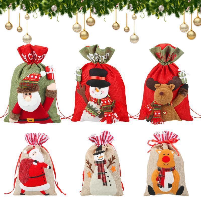 Cookie PCS Bonkap Snowman 1 Candy cadeau cadeau cadeau de Noël cordon de Noël elk sac jute fête décoration Santa Sacs Claus vciil gibbn