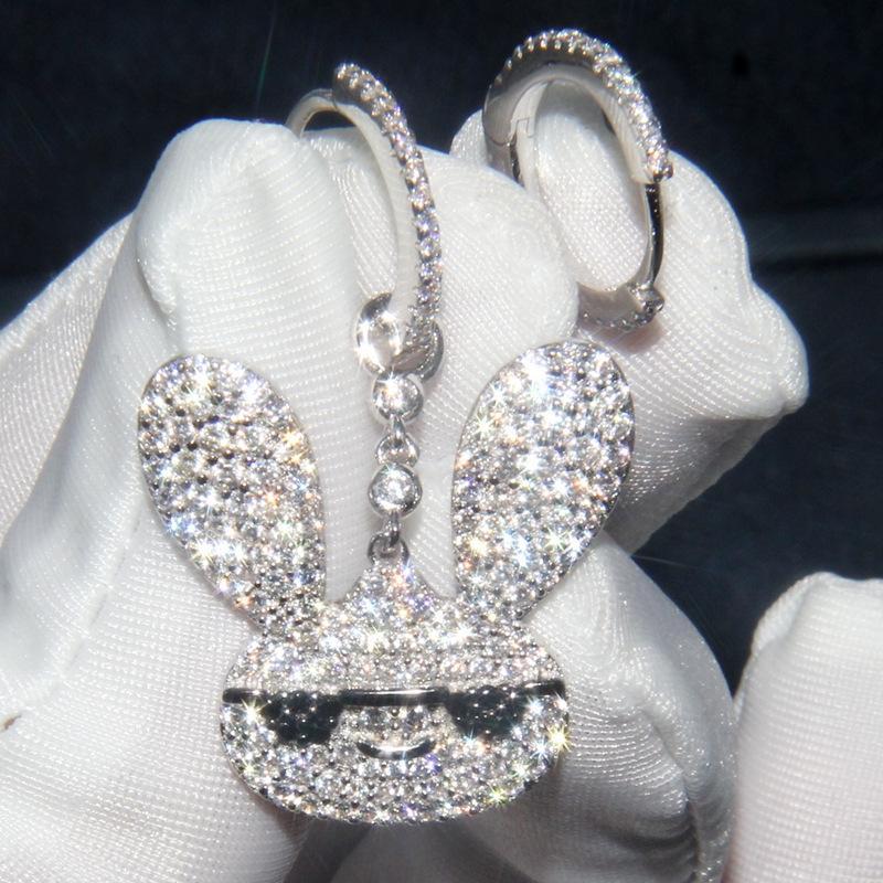 1pGJe A s925 prata incrustada de cristais de diamante anel de orelha de coelho das mulheres assimétrica brincos Yao Chen mesma Cristal Diamante Brincos Tu Er