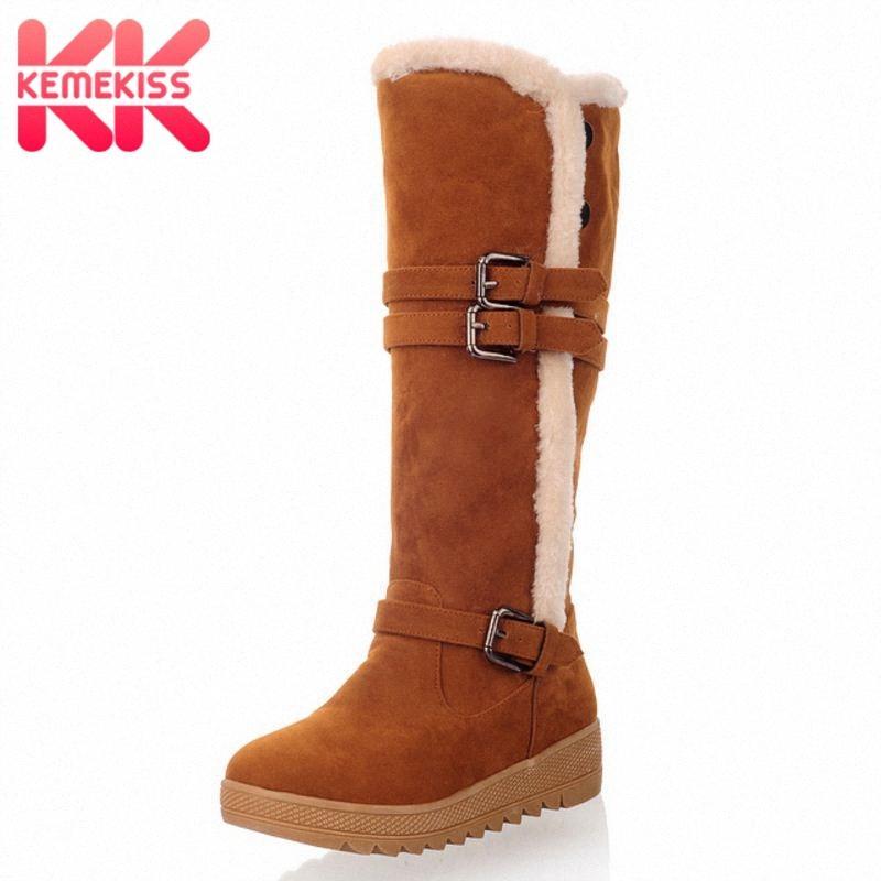 KemeKiss Tamanho 36 43 Ladies Flats Botas Mid C Rodada Toe Buckle Plush Fur Inverno Quente do joelho botas coreano Moda Womens Shoes GNG0 #