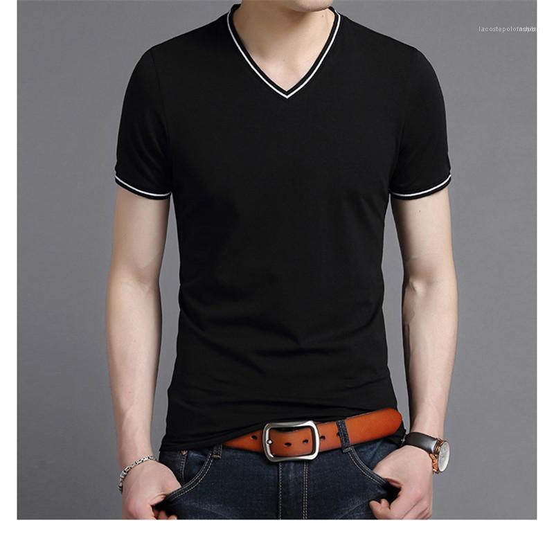 Мода Slim Fit Мода Одежда Лето Мужской дизайнер тройники мужские сплошной цвет V шеи тенниска вскользь с коротким рукавом