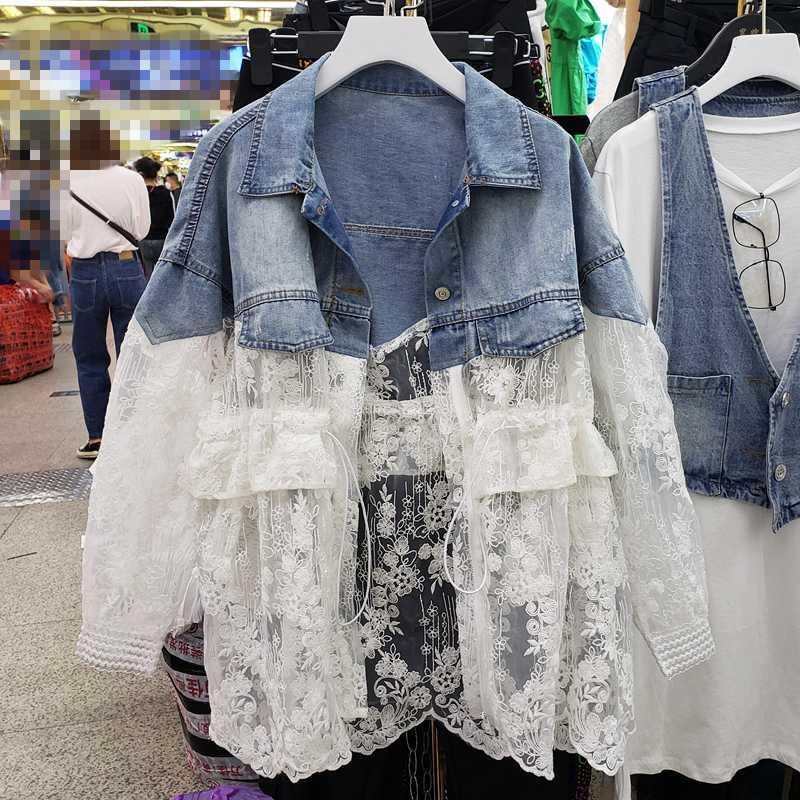 Damen Jeansjacke Spitzenjacke 2020 Frühling-Sommer-neue Spitze Jeans Mantel Mode Damen Jacken Ropa De Mujer Chaquetas Mujer
