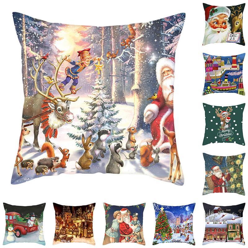 Assento estilo do Natal Fuwatacchi Animais Capa de Almofada Papai Noel fronha Início decorativa Branco Almofadas Capa Para Sofá Car