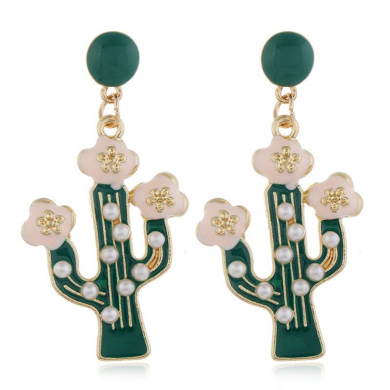 Forme Cactus Goutte Boucles d'oreilles avec perle pour les femmes de la mode 2020 d'or Hyperbole Boucles d'oreilles Vintage